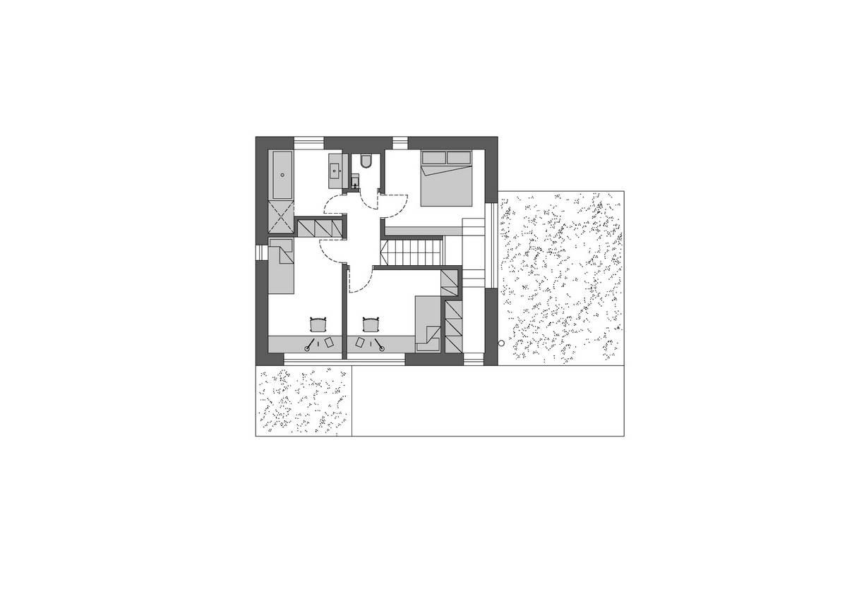 Семейный деревянный дом в чешской деревне деревьев, крышей, гостиной, здания, Atelier, Loucka, Jakub, пассивного, Объёмы, кабинета, деревянных, панелей, выступают, двускатной, этаже, Градишенко, элементов, Семейный, характерный, жёлтый