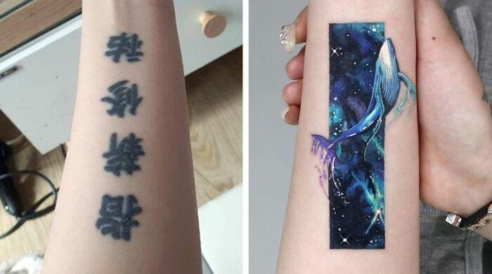 Тату-мастер закрывает старые и неудачные татуировки новыми
