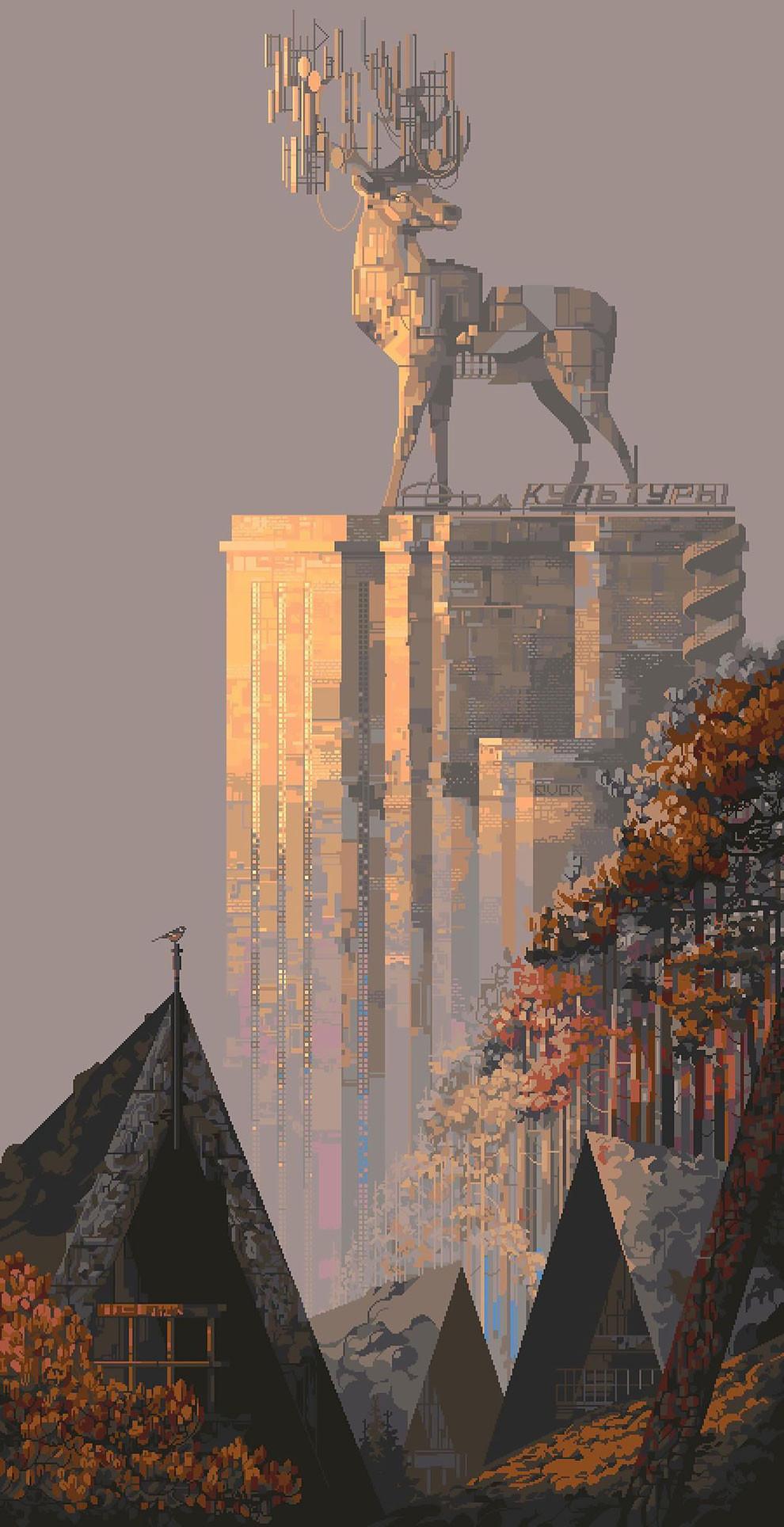 Атмосферные пиксельные иллюстрации от Евгении Гончаровой