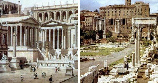 Как с течением времени изменились разные места на снимках
