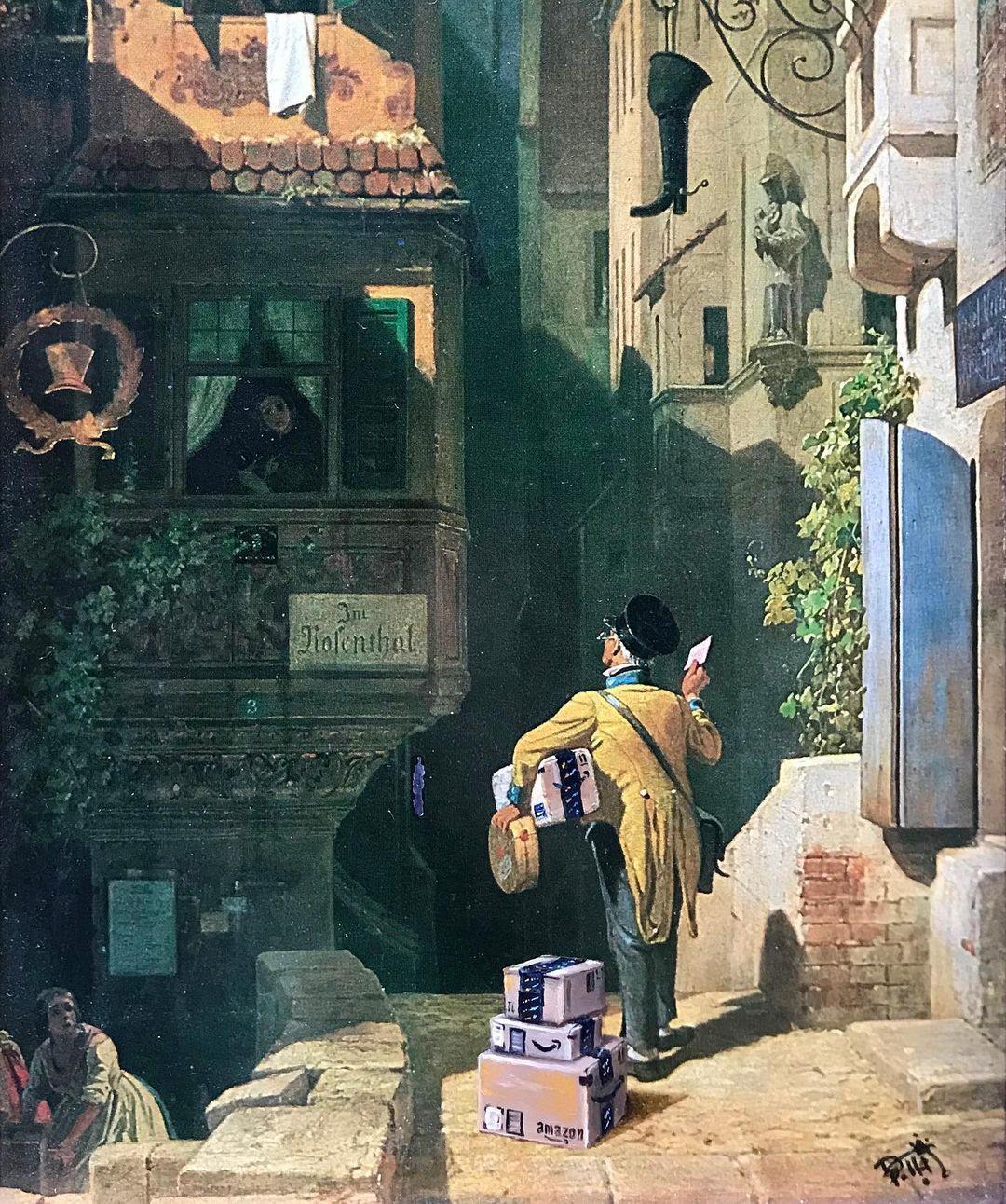 Известные современные вещи и персонажи на старых картинах