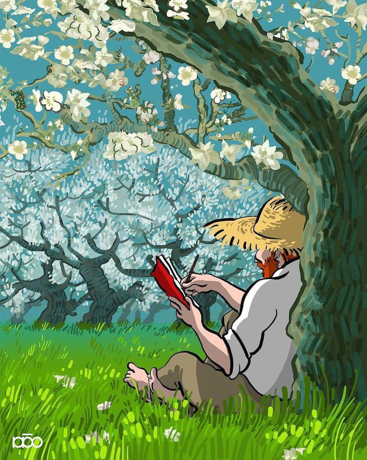Иранский художник изображает жизнь Ван Гога в характерном стиле