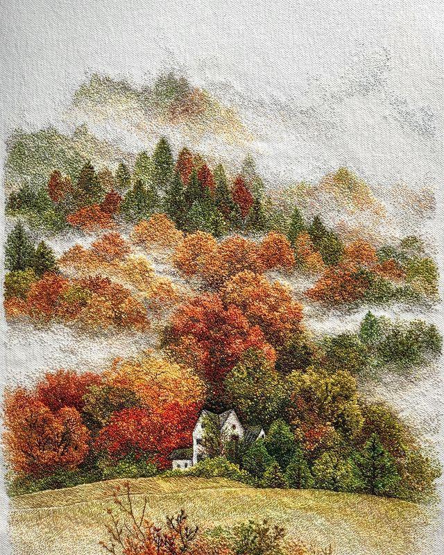 Восхитительные вышитые пейзажи от Катрин Вейтс