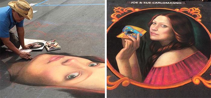 Красочные меловые портреты на асфальте