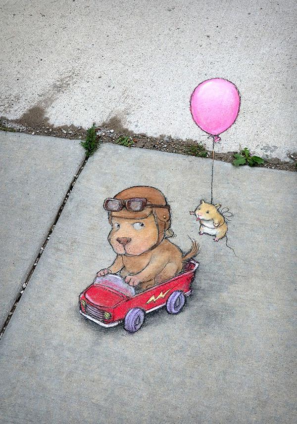 Крутые меловые рисунки в городской среде от Дэвида Зинна