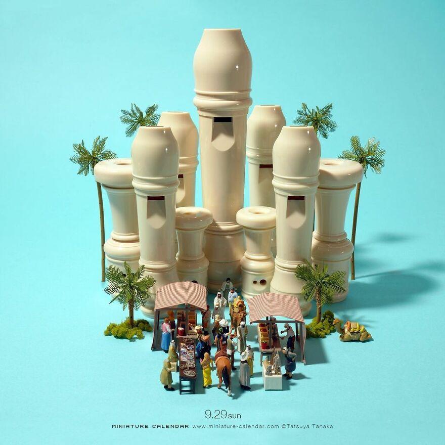 Японский художник Танака Тацуа создаёт миниатюрные диорамы каждый день