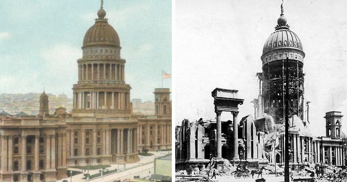 Исторические здания до и после того, как их внешний вид был изменен человеком