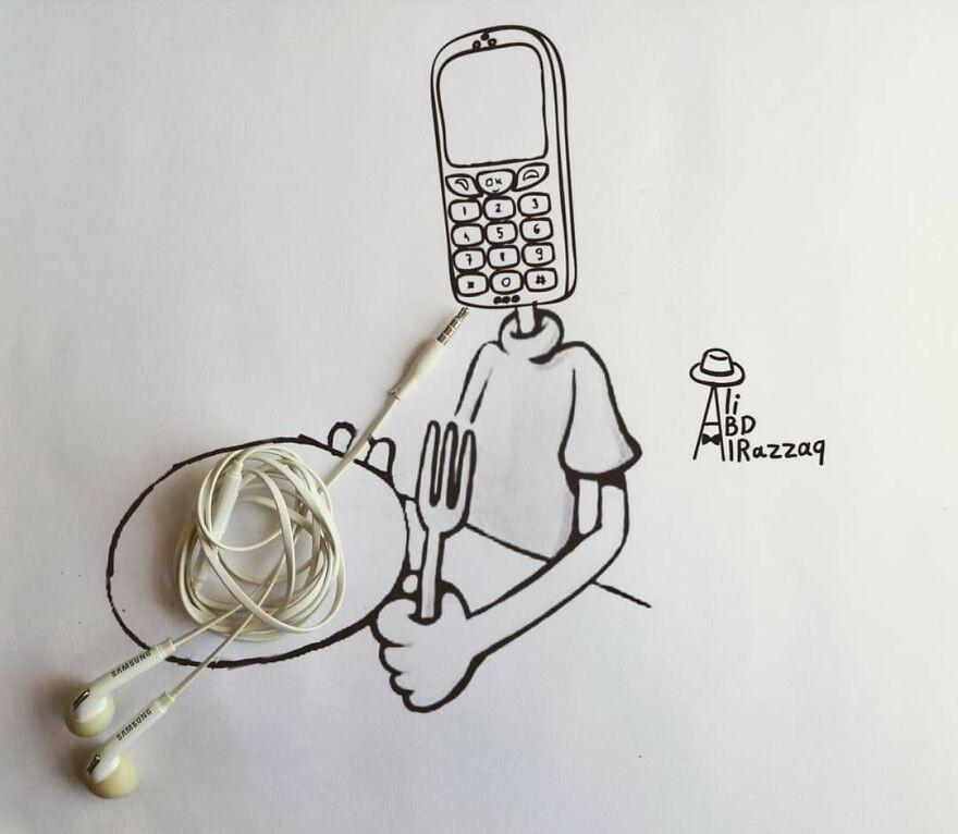 Рисунки в сочетании с реальностью от иракского художника