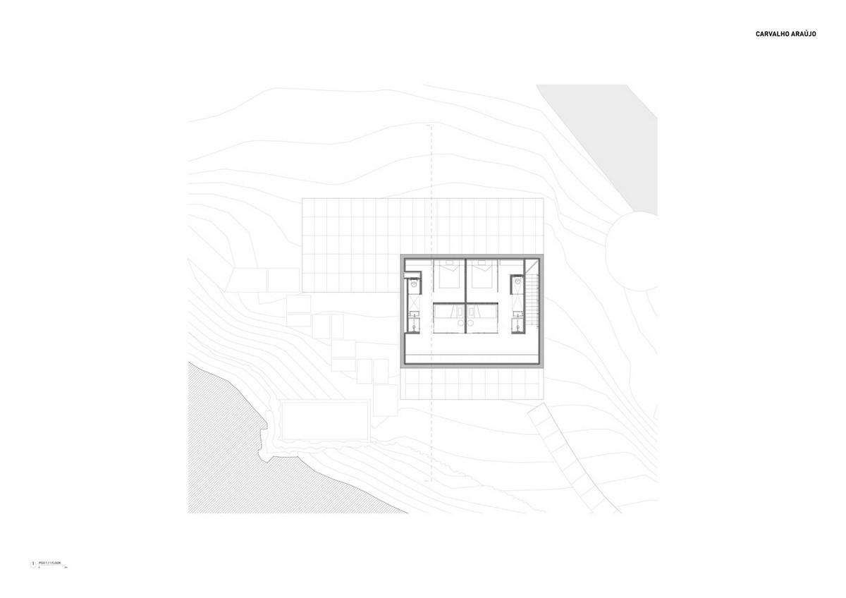 Простой бетонный дом для отдыха в лесу в северной Португалии