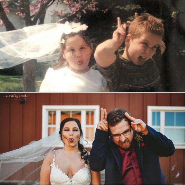 Они воссоздали свои старые семейные фотографии