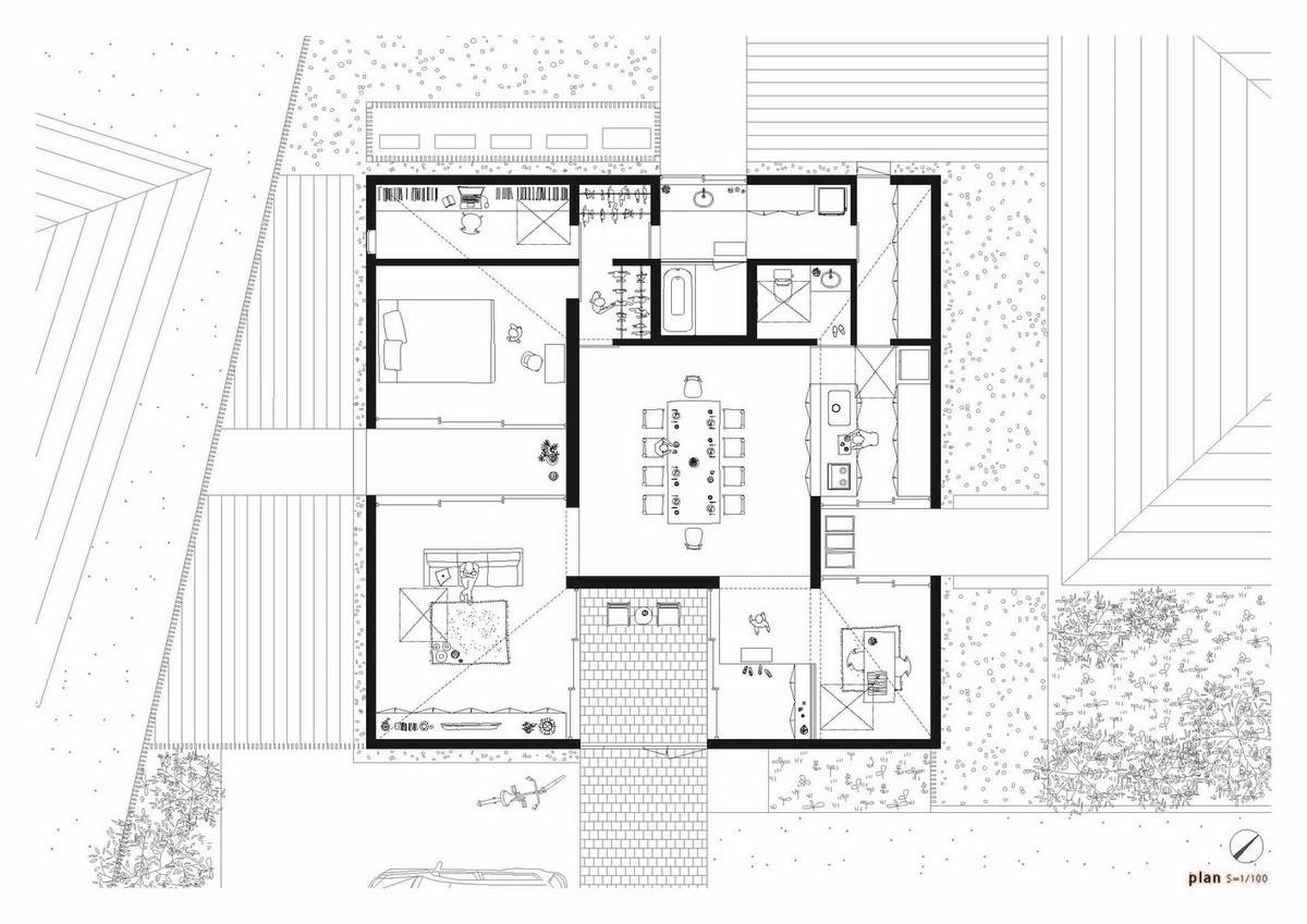 Одноэтажный дом для пожилой пары в Японии